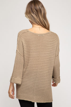 Charlie 3/4 Cuff Sleeve High-Low V Neck Sweater
