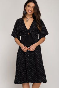 Jane Half Sleeve Button Down Polka Dot Dress