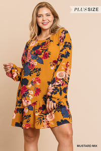 Erica Floral Print with Ruffle Tie Dress - Plus Size