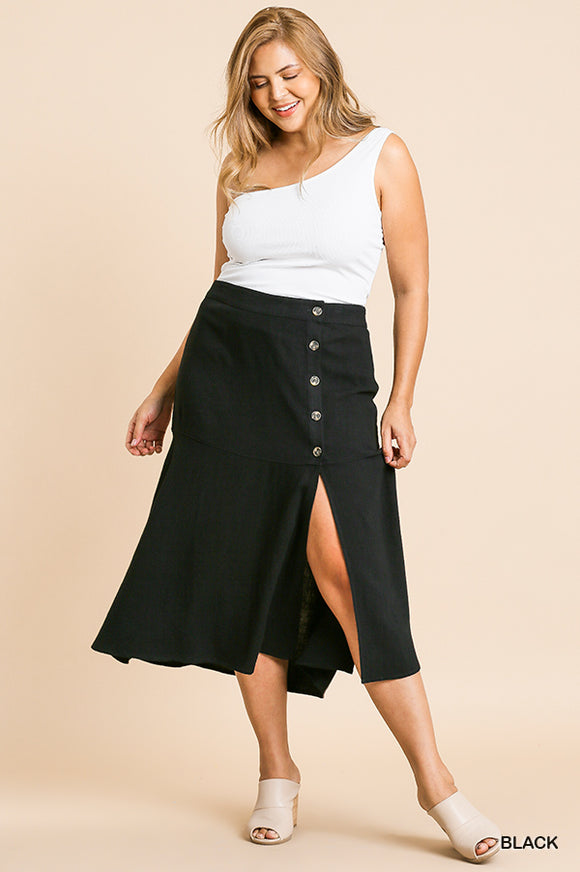 Lara High Waist Midi Skirt - Plus Size