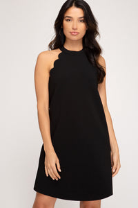 Mabel Sleeveless Textured Heavy Knit Dress with Scalloped Sleeve Hem