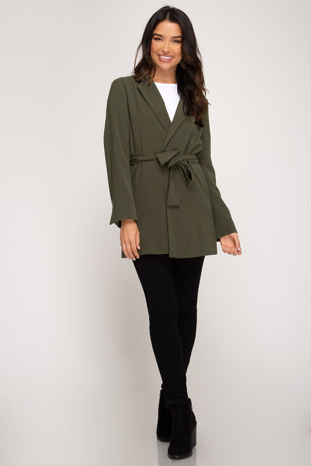 Ivy Long Sleeve Blazer with Waist Sash