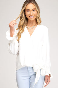 Gwen Smocked Long Sleeve Top with Side Tie Detail