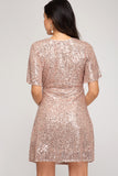 Amber Wrap Sequin Dress