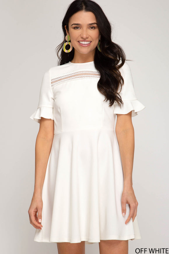 Reese Ruffle Sleeve Skater Dress