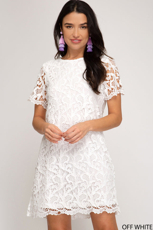 Michaela Crochet Shift Dress
