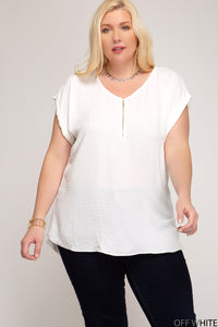 Cairo Zipper Short Sleeved Top- Plus Size