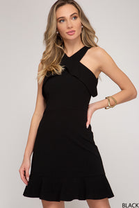 Blake Ruffle Neckline Dress - More Colors