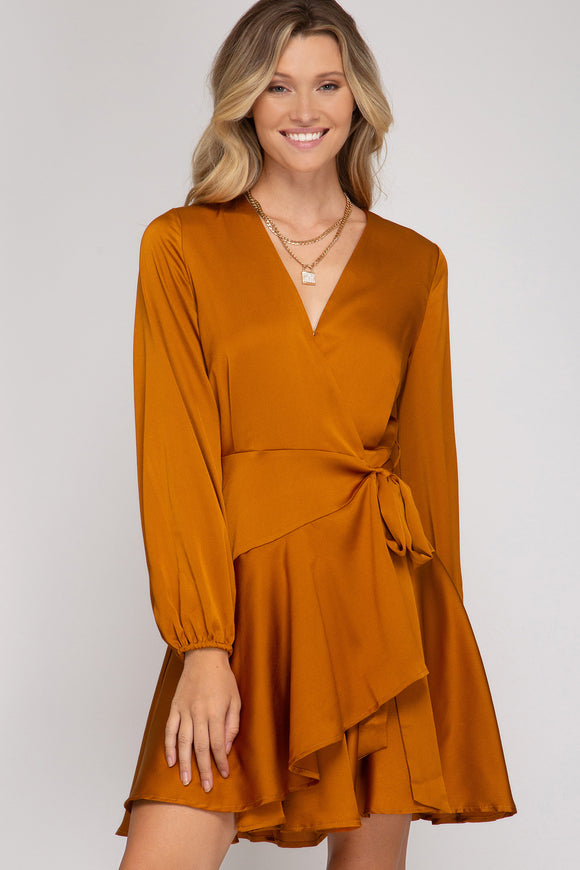 Kasandra Satin Wrap Dress