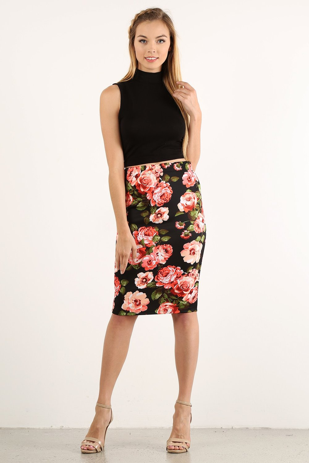 Faye Floral Pencil Skirt