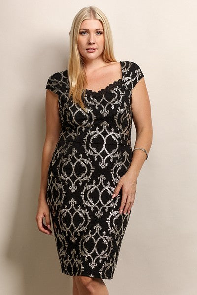 Gold Print Dress - Plus Size