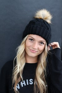 Pom Knit Hat with Fleece Liner - Other Colors Available
