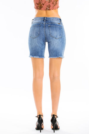 KanCan Medium Wash Frayed Hem Short