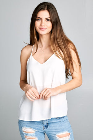 Pearl Chiffon Spaghetti Strap Tank - Other Colors Available
