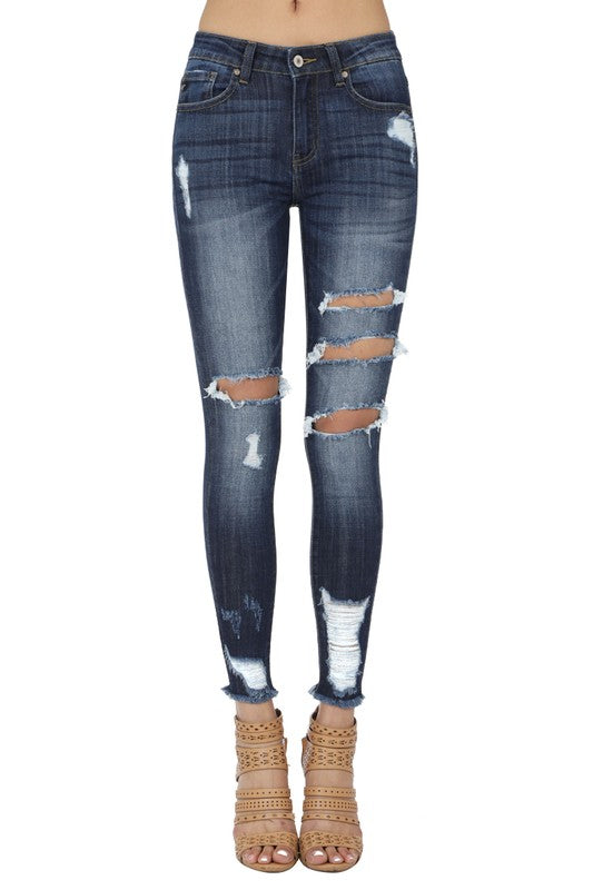 KanCan Dark Wash Mid-Rise Distressed Jean