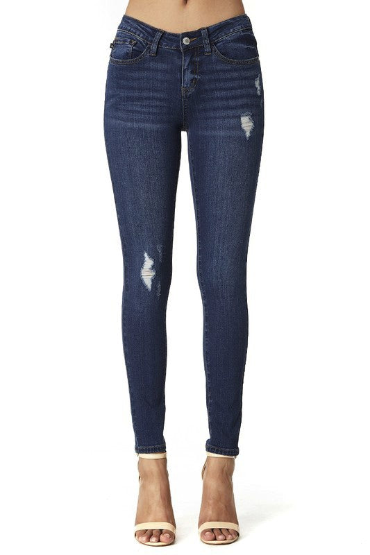 Judy Blue Dark Blue Distressed Jeans - Plus Size