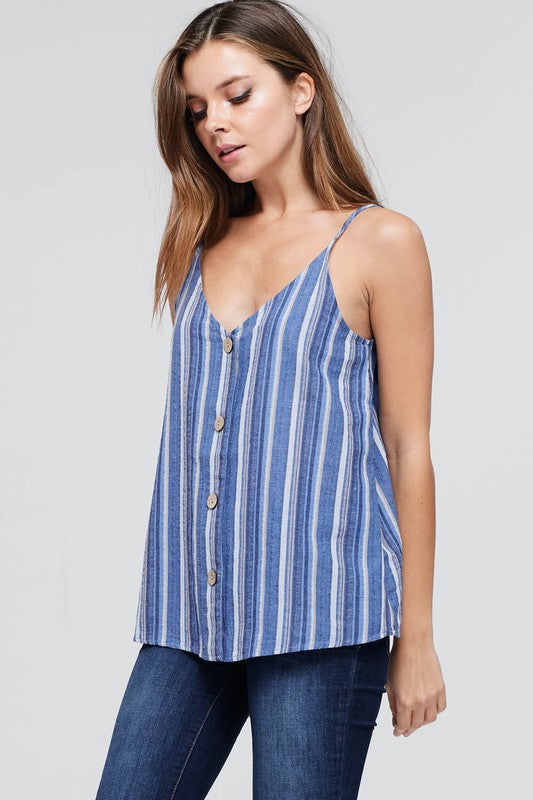 Liza Sleeveless Striped Button Down Top
