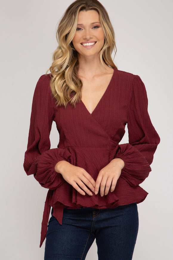 Amber Textured Wrap Top - More Colors