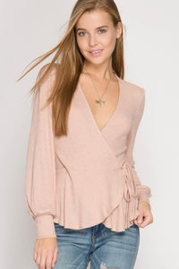 Ashley Balloon Sleeve Wrap Top