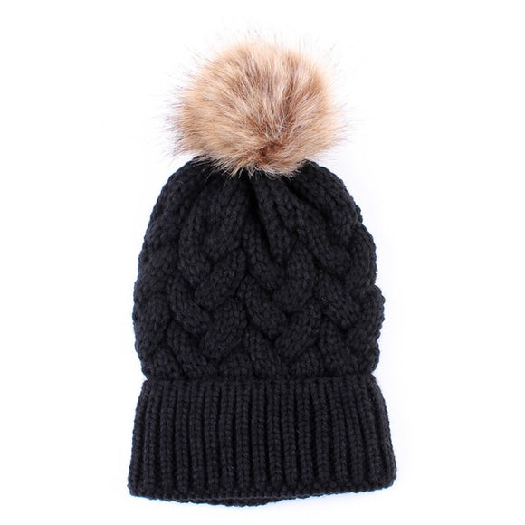 Braided Knit Beanie with Pom