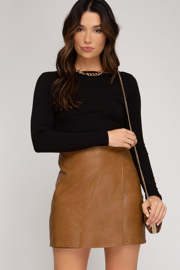 Briar Faux Leather Wrap Skirt