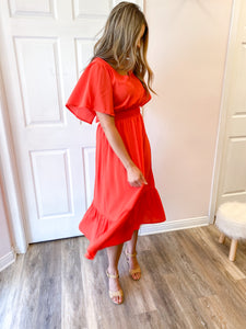 Mariella Ruffle Midi Dress
