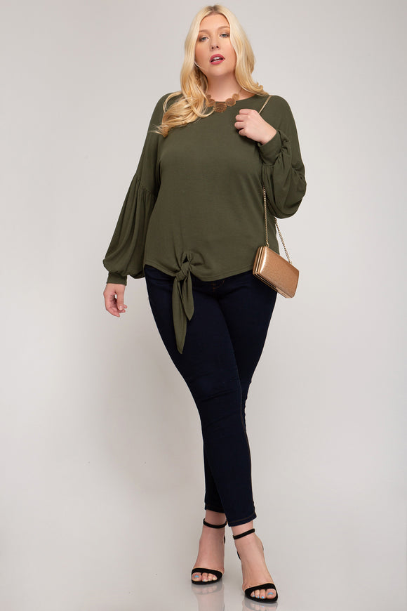 Camille Puff Sleeve Side Tie Top