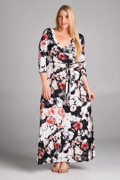 Multi-Colored Floral Wrap Dress