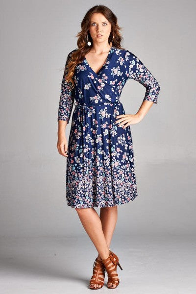 Kelly Short Floral Wrap Dress - Plus Size