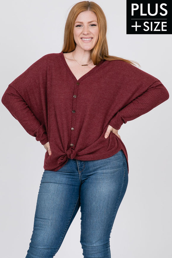 Sophia Button Front Waffle Top - Plus - More Colors