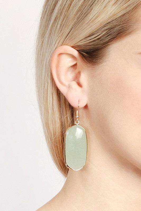 Vela Natural Oval Stone Earring - More Colors