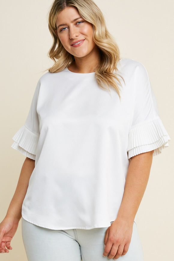 Lucia Pleated Tier Sleeve Top - Plus