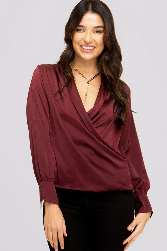 Harper Surplice Satin Blouse