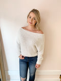 Zoe Fuzzy Off The Shoulder Sweater
