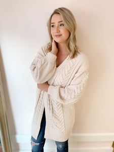 Miranda Chenille Long Cable Knit Cardigan - More Colors