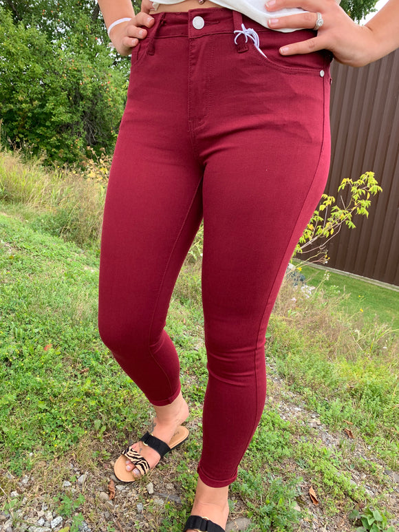 Judy Blue Maroon Skinny High Rise Jeans