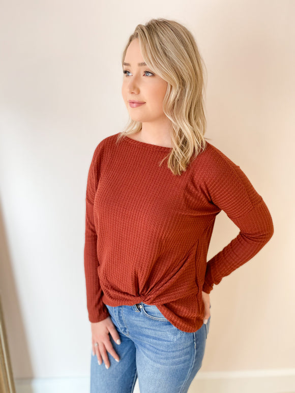 Jamie Waffle Knit Twist Front Top