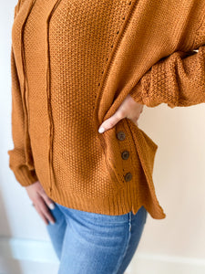 Rachel Textured Side Button Sweater - More Colors
