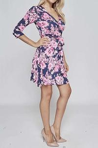 Short Floral Wrap Dress