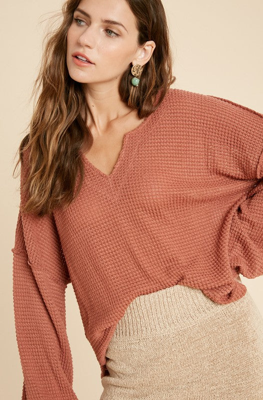 Jessica Balloon Sleeve Waffle Knit Top - More Colors