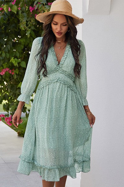 Pippa Boho Ruffled Midi Dress - More Colors