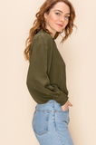 Rory Balloon Sleeve Cropped Blouse -Multiple Colors