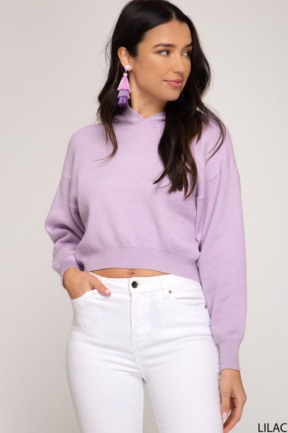 Max Knit Hooded Cropped Sweater