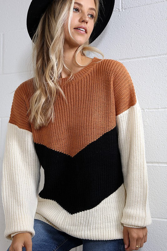 Sawyer Color Block Oversized Sweater - More Colors