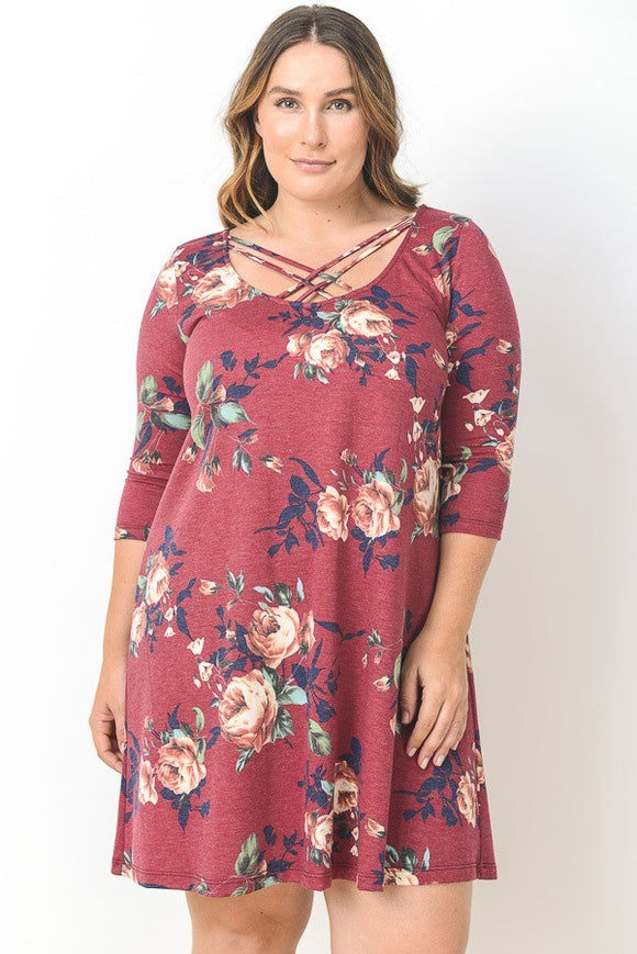 Molly Floral Criss-Cross Dress - Plus Size