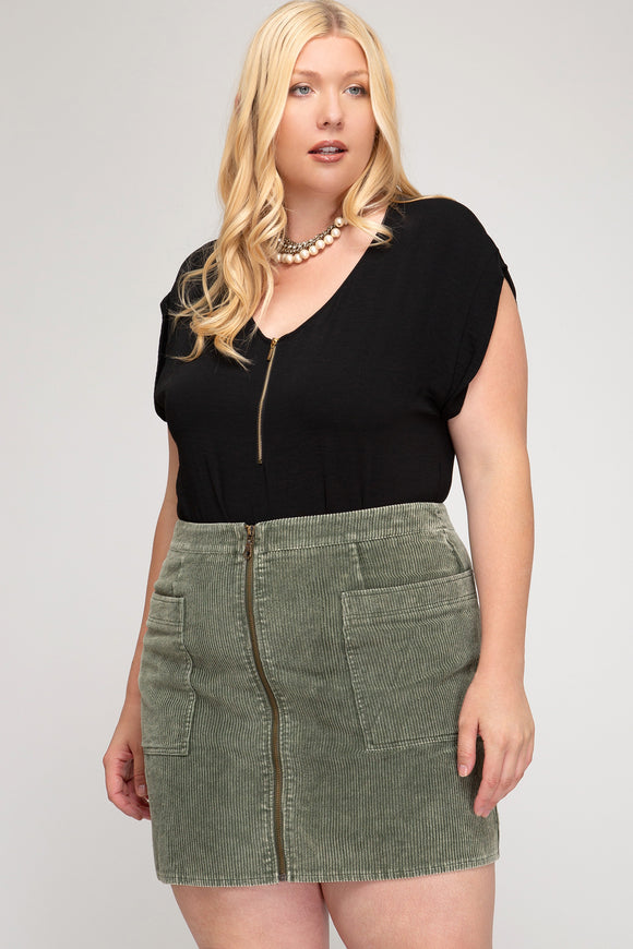 Ash Corduroy Mini Skirt - Plus Size