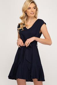 Emily Flounce Hem & Waist Sash Linen Dress - Other Colors Available