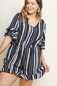 Ashley Bell Sleeve Romper - Plus Size