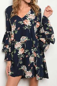 Becky Bell Sleeve Floral Print Dress