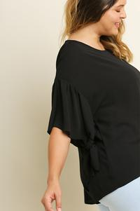 Ruffle Tie Sleeve Blouse - Plus Size
